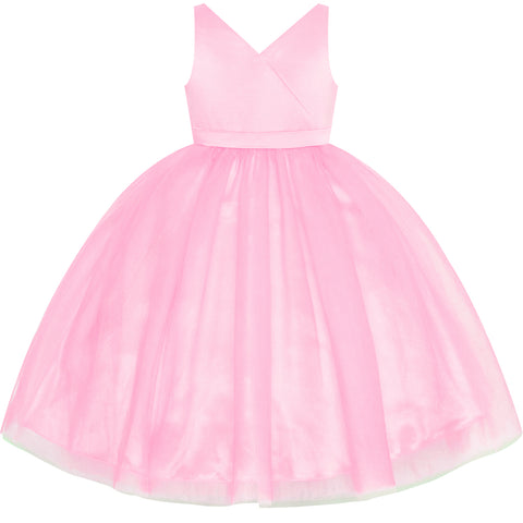 Flower Girl Dress Pink Wedding Party Bridesmaid Pageant Size 4-10 Years