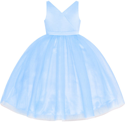 Flower Girl Dress Blue Wedding Party Bridesmaid Pageant Size 4-10 Years