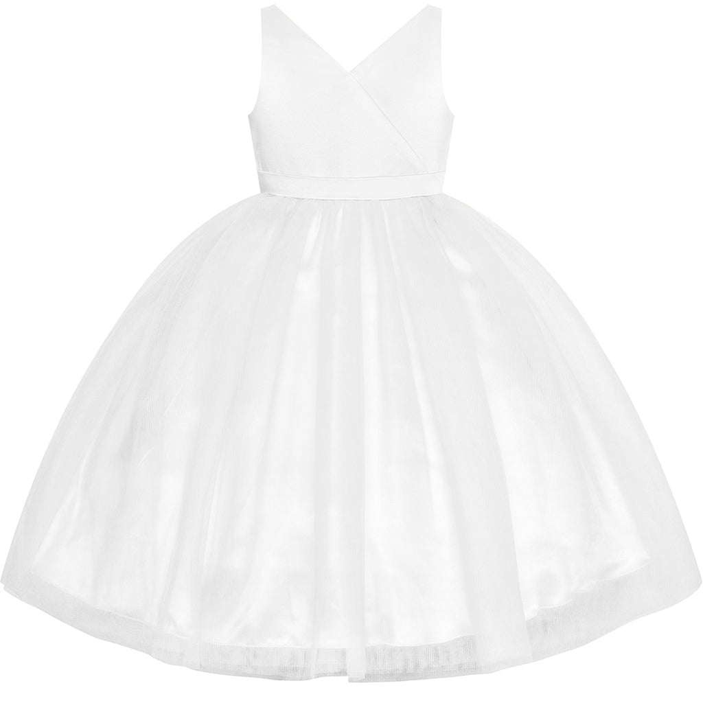 Flower Girl Dress Off White Wedding Party Bridesmaid Pageant Size 4-10 Years