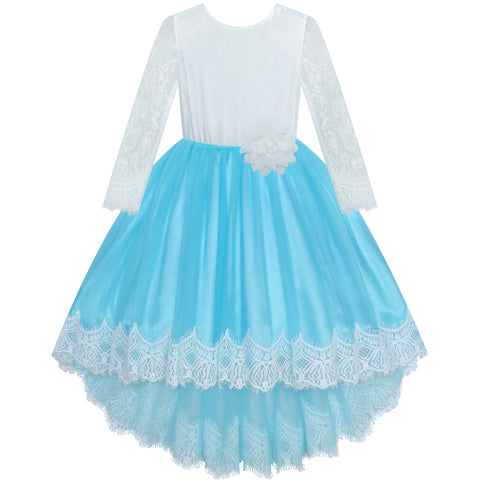 Girls Lace Dress Flower Hi-low Long Sleeve Party Wedding Size 6-14 Years