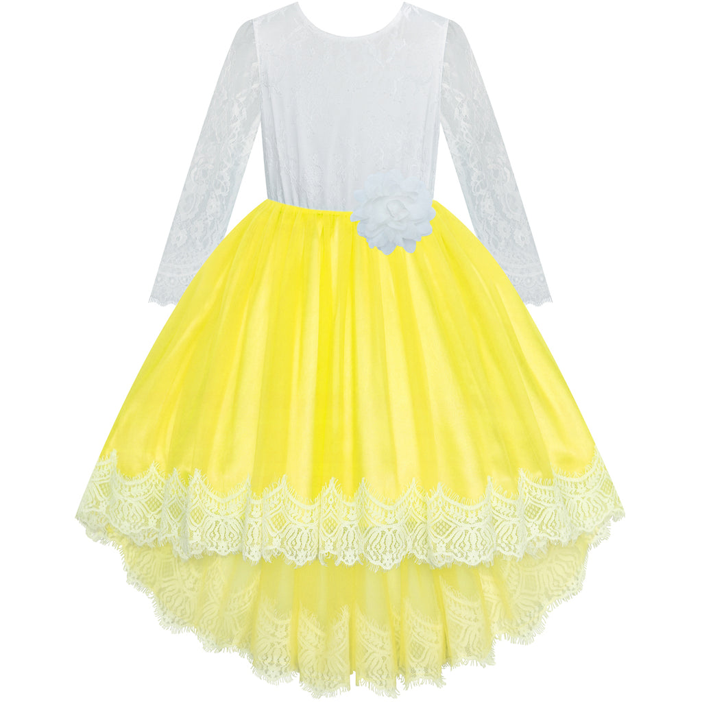 Flower Girl Dress Yellow Hi-low Lace Party Wedding Size 6-14 Years