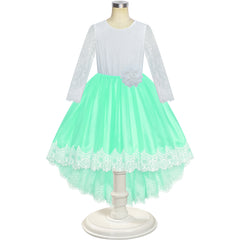 Flower Girl Dress Green Hi-low Lace Party Wedding Size 6-14 Years