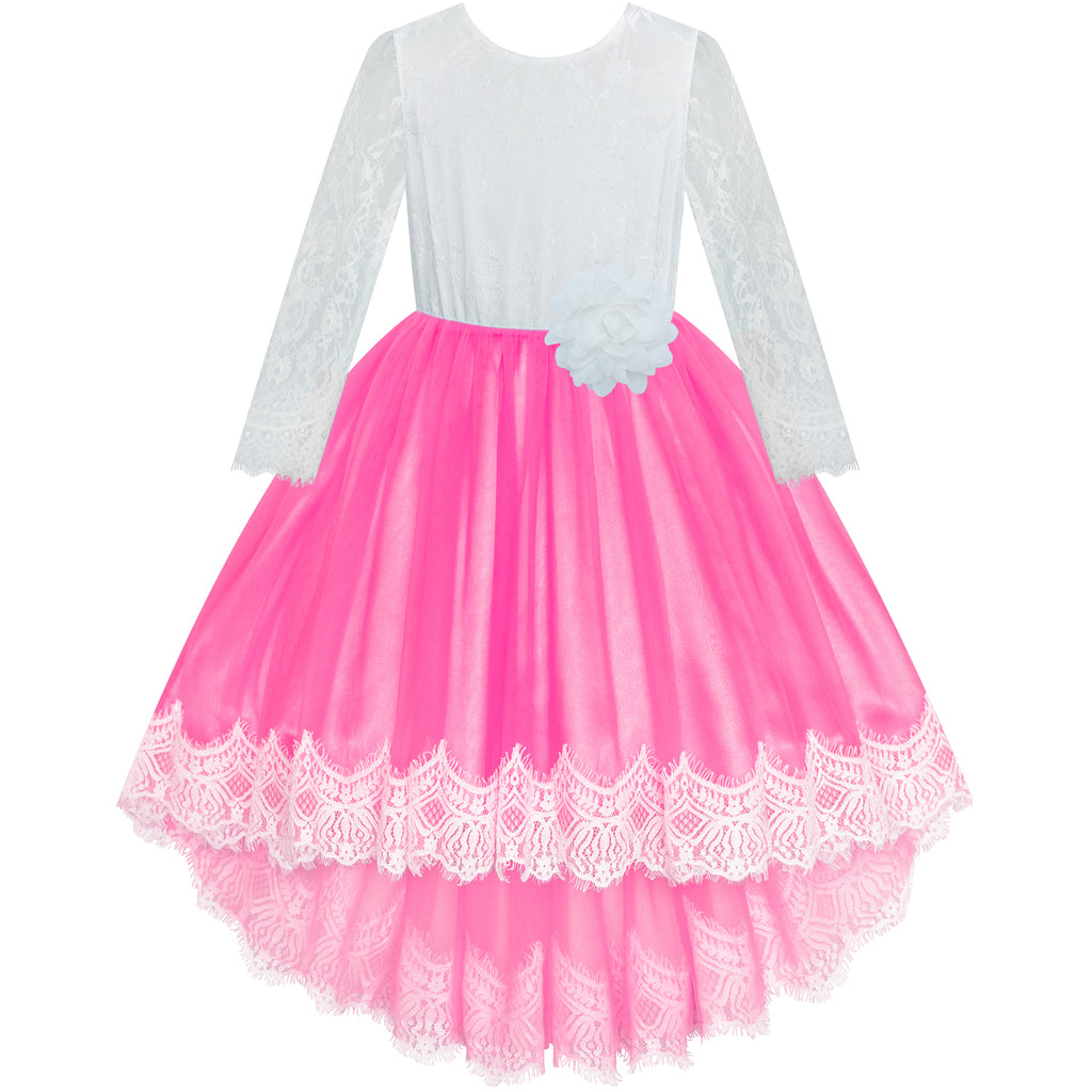 Flower Girl Dress Deep Pink Hi-low Lace Party Wedding Size 6-14 Years
