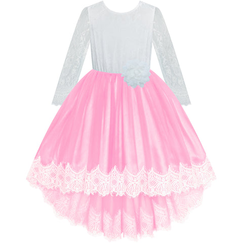 Girls Lace Dress Pink Birthday Party Wedding Bridesmaid Size 6-14 Years