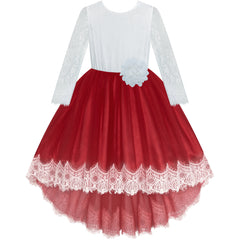 Girls Lace Dress Burgundy Red Party Wedding Bridesmaid Size 6-14 Years