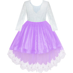 Girls Lace Dress Purple Flower Girl Party Wedding Bridesmaid Size 6-14 Years