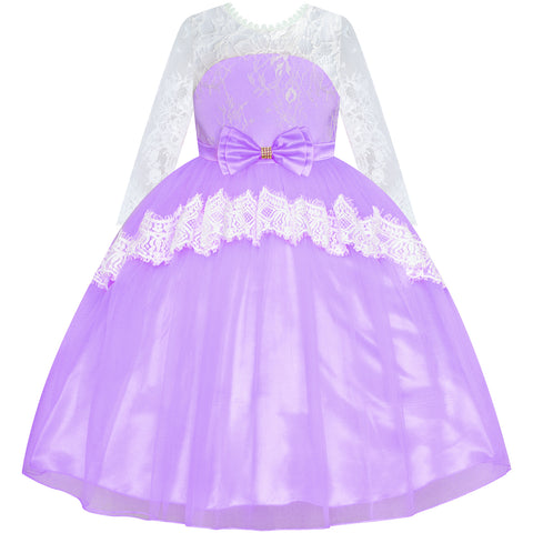Girls Lace Dress Purple Flower Girl Long Sleeve Wedding Bridesmaid Size 6-12 Years