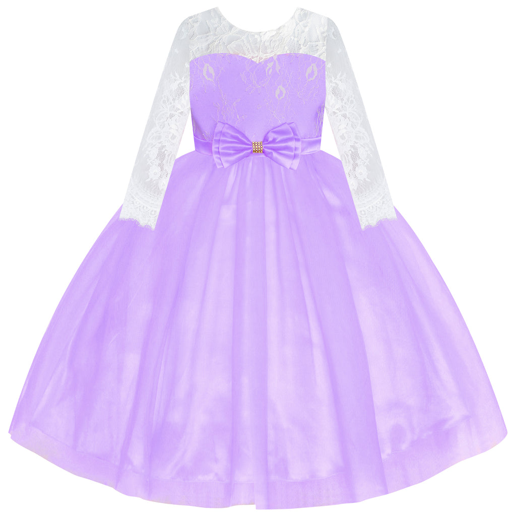Flower Girl Dress Purple Lace Long Sleeve Wedding Ball Gown Size 6-12 Years
