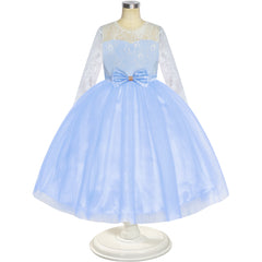 Flower Girl Dress Blue Lace Long Sleeve Wedding Ball Gown Size 6-12 Years