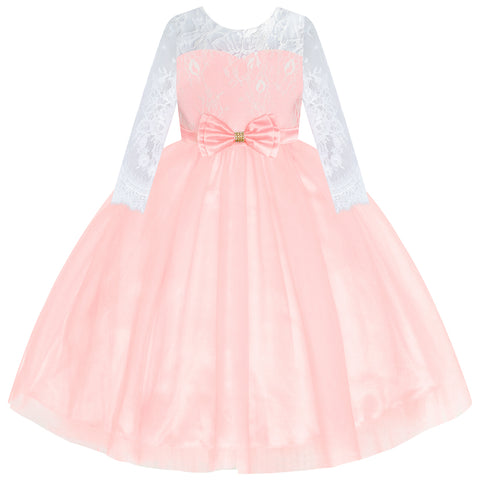 Flower Girl Dress Light Pink Lace Long Sleeve Wedding Size 6-12 Years