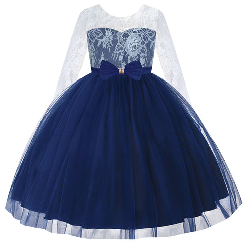 Flower Girl Dress Navy Blue Lace Long Sleeve Wedding Size 6-12 Years