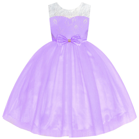 Flower Girl Dress Sleeveless Purple Lace Sleeveless Wedding Size 6-12 Years