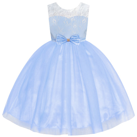 Flower Girl Dress Sleeveless Blue Lace Sleeveless Wedding Size 6-12 Years