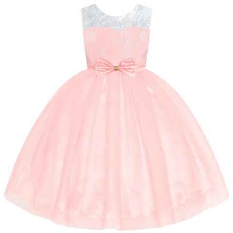 Flower Girl Dress Sleeveless Light Pink Lace Wedding Size 6-12 Years