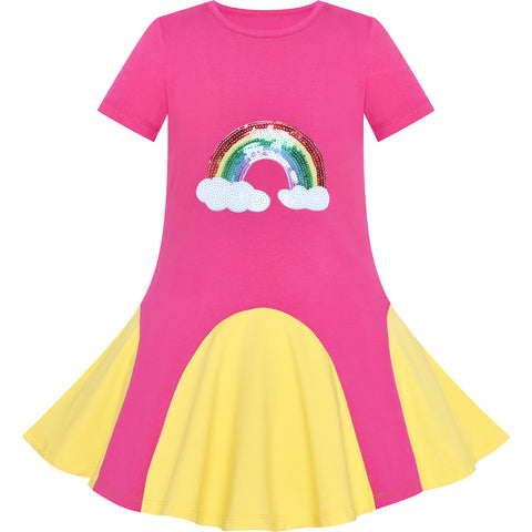 Girls Dress Pink Yellow Rainbow Unicorn Short Sleeve Cotton Casual Size 3-7 Years