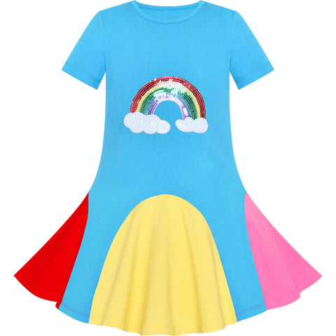 Girls Dress Blue Rainbow Unicorn Short Sleeve Cotton Casual Size 3-7 Years