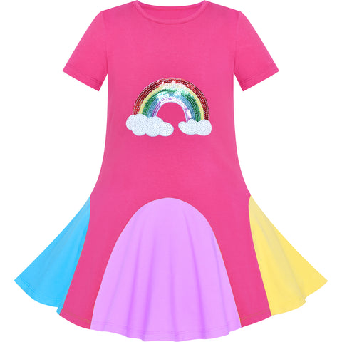 Girls Dress Pink Rainbow Unicorn Short Sleeve Cotton Casual Size 3-7 Years