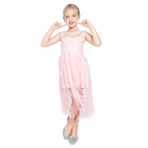 Girls Dress Blush Pink Flapper Vintage 1920s Tassel Lace Size 6-16 Years