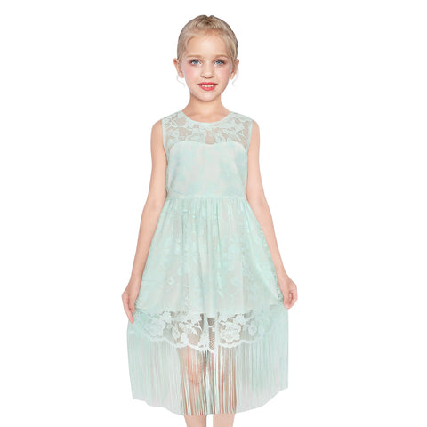 Girls Dress Green Flapper Vintage 1920s Tassel Lace Size 6-16 Years