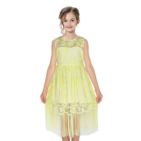Girls Dress Yellow Flapper Vintage 1920s Tassel Lace Size 6-16 Years
