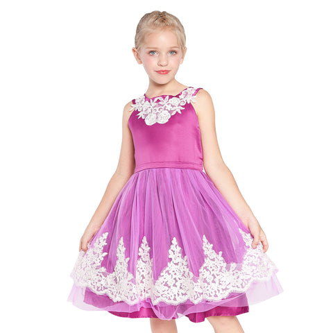 Girls Dress Vintage Flower Lace Purple Wedding Party Size 7-14 Years