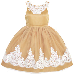 Girls Dress Vintage Flower Lace Ginger Yellow Wedding Party Size 7-14 Years