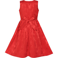 Girls Dress Vintage Red Fit Flare Jacquard Satin Fabric Party Size 5-12 Years