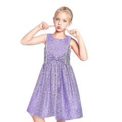 Girls Dress Vintage Gray Fit Flare Jacquard Satin Fabric Party Size 5-12 Years