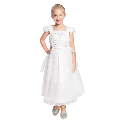 Girls Dress Cap Sleeve White Wedding Party Bridesmaid Church Size 6-12 Years