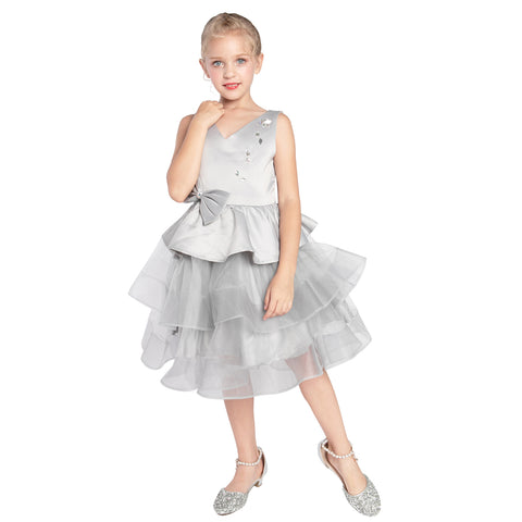 Girls Dress Gray Tiered Bow Tie Rhinestones V-neck Wedding Party Size 6-12 Years