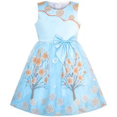 Girls Dress Blue Flower Tree Tulle Birthday Party Dress Size 6-12 Years