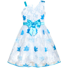 Girls Dress One Shoulder Blue Maple Leaf Tulle Party Size 6-12 Years