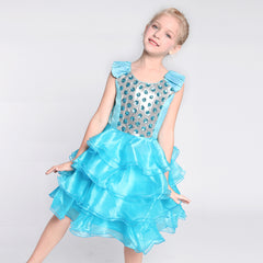 Girls Dress Blue Ruffles Tulle Tiered Dress Birthday Party Birthday Size 4-12 Years