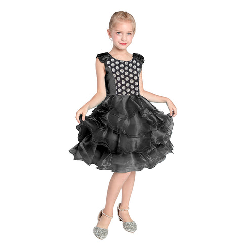 Girls Dress Black Ruffles Tulle Tiered Dress Birthday Party Birthday Size 4-12 Years