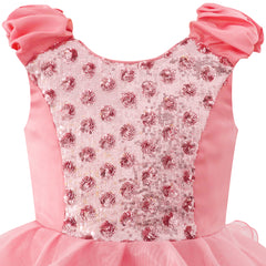 Girls Dress Pink Ruffles Tulle Tiered Dress Birthday Party Birthday Size 4-12 Years