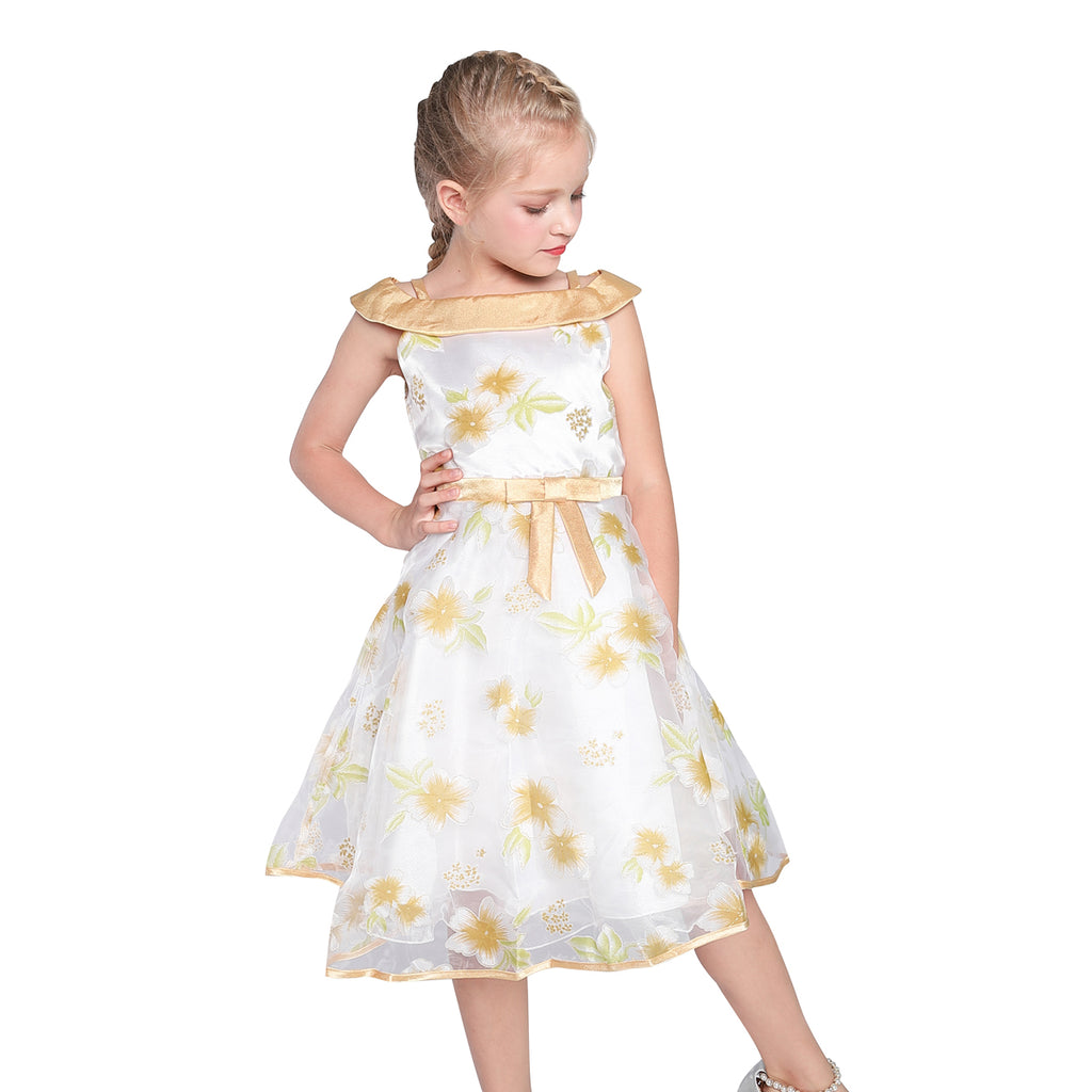 Flower Girl Dress Off Shoulder Champagne Birthday Party Size 5-10 Years