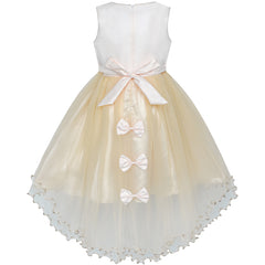 Girls Dress Champagne Hi-low Skirt Elegant Wedding Size 4-10 Years
