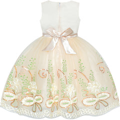 Girls Dress Champagne Embroidered Flower Elegant Wedding Size 6-12 Years