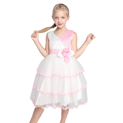 Flower Girl Dress Pink White Color Contrast Wedding Party Size 7-14 Years