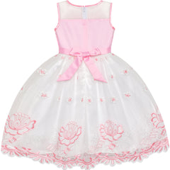 Flower Girl Dress Pink Flower Embroidered Wedding Party Bridesmaid Size 5-12 Years