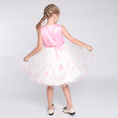 Flower Girl Dress Pink Flower Embroidered Ruffle Skirt Size 6-12 Years