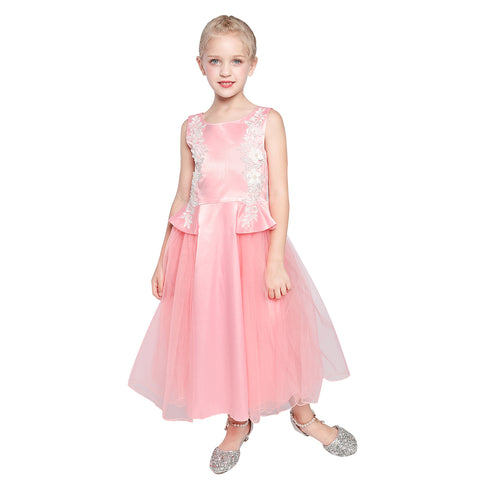 Girl Dress Lace Blush Pink Floor Length Pageant Ball Gown Size 6-12 Years