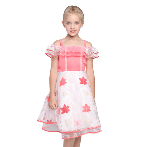 Flower Girl Dress Off Shoulder Pink Maple Leaf Birthday Party Size 6-12 Years