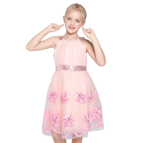 Flower Girl Dress Blush Pink Maple Leaf Embroidered Halter Dress Size 6-12 Years