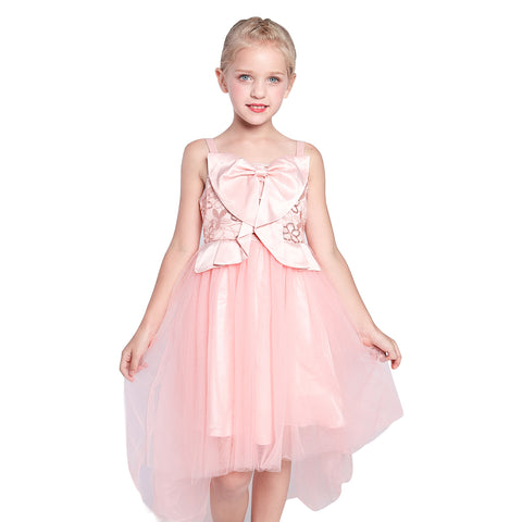 Flower Girl Dress Blush Pink Bow Tie Hi-Low Wedding Party Size 6-12 Years