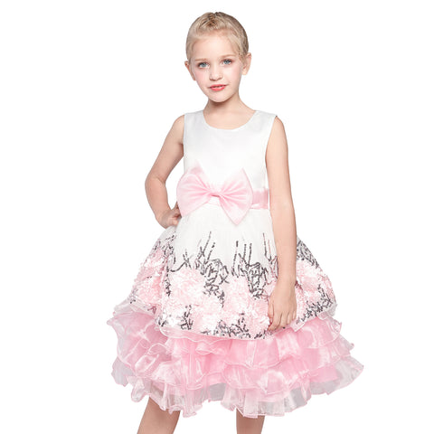 Flower Girl Dress Pink Bow Tie Country Wedding Party Size 7-14 Years