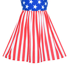 Girls Dress National Day July 4th Star Flag Celebration Size 4-12 Years
