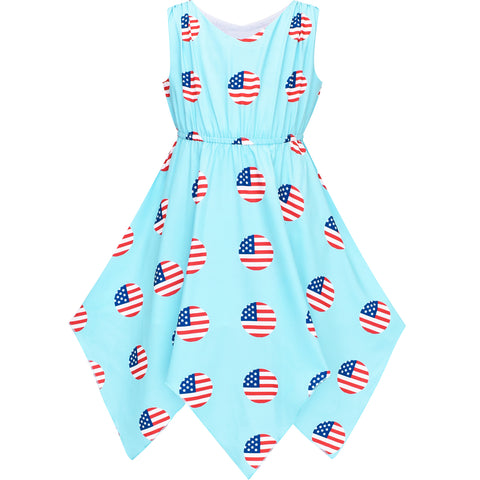Girls Dress American Flag July 4th Hanky Hem National Day Size 7-14 Years