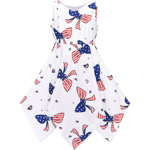 Girls Dress National Flag July 4th Hanky Hem Bow Tie Size 7-14 Years