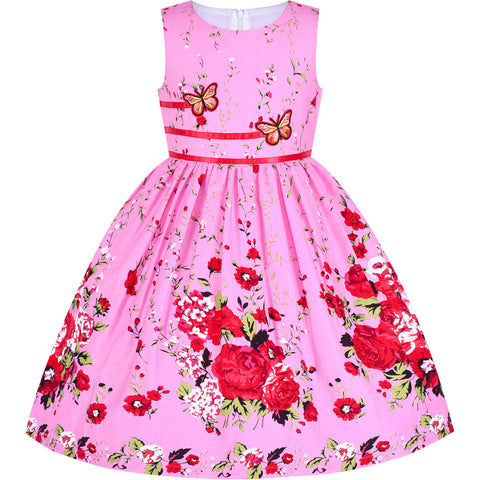 Girls Dress Rose Flower Double Bow Tie Party Sundress Casual Size 4-12 Years